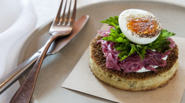 ***EMBARGOED FOR SUNDAY LIFE, AUGUST 4/19 ISSUE*** Life Loves - Eat : Who needs avo toast when you can have a falafel crumpet ($14) with tahini, pickled onion and soft boiled egg? Just one of many dishes drawing the crowds to Nour for Sunday brunch. 490 Crown St, Surry Hills; (02) 9331 3413 Photograph by Jennifer Soo (photographer on contract, no restrictions)