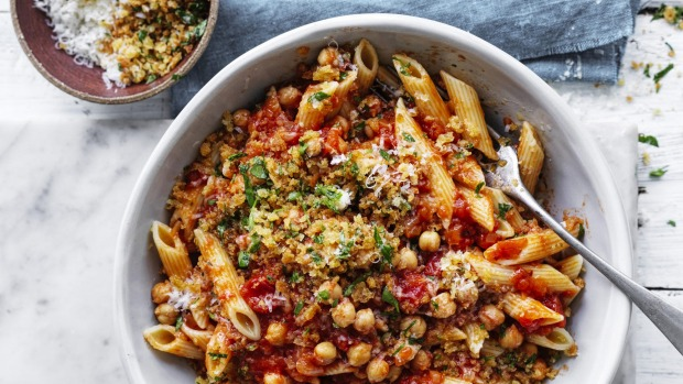 ***EMBARGOED FOR GOOD WEEKEND, MARCH 14/20 ISSUE*** Neil Perry recipe :Penne with Chickpeas and chilli Photograph by William Meppem (photographer on contract, no restrictions)