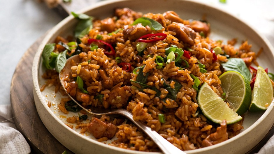 Open jar of Thai red curry lurking in your fridge? Turn it into fried rice.