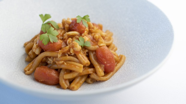 Go-to dish: Casarecce pasta with spanner crab, roast cherry tomato and prawn oil.