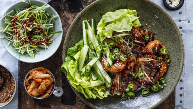***EMBARGOED FOR GOOD WEEKEND, MARCH 21/20 ISSUE*** Neil Perry recipe :King Prawn Bo SSam Style Photograph by William Meppem (photographer on contract, no restrictions)