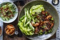 Neil Perry makes Korean lettuce wraps with barbecued king prawns.
