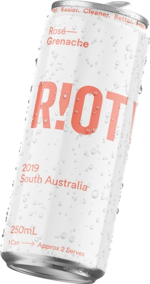 Riot Wine's rosé grenache in a can is dry and floral with delicate spice and lifted aromatics.