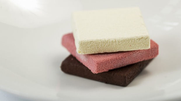 Pastry chef Lauren Eldridge's play on neapolitan ice-cream.