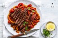 Grilled sirloin steak with peperonata.