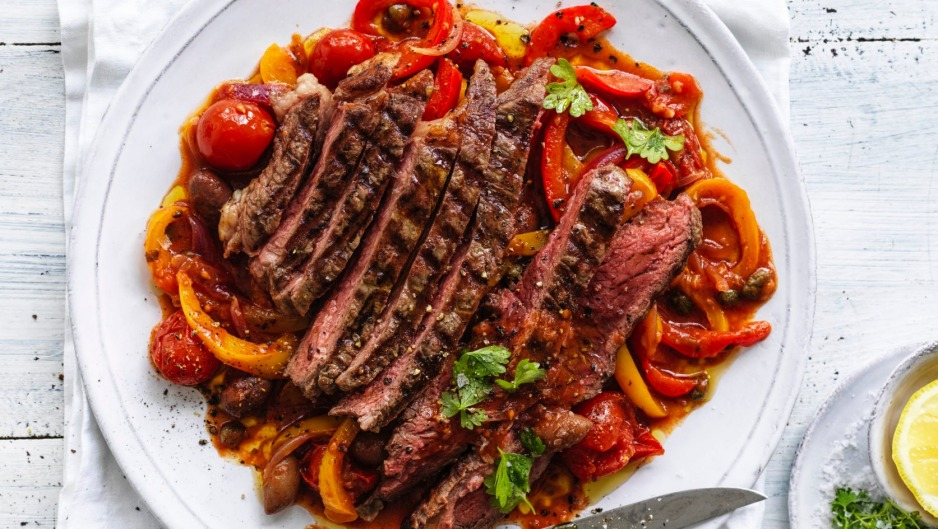Grilled steak with sweet and sour peperonata.
