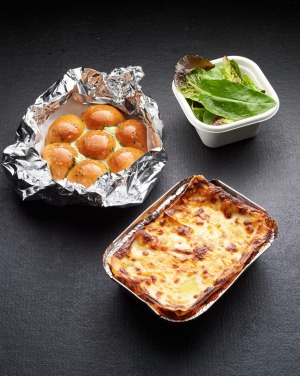Ben Shewry's lasagne, salad and pull-apart garlic bread is available to takeaway from Attica restaurant.