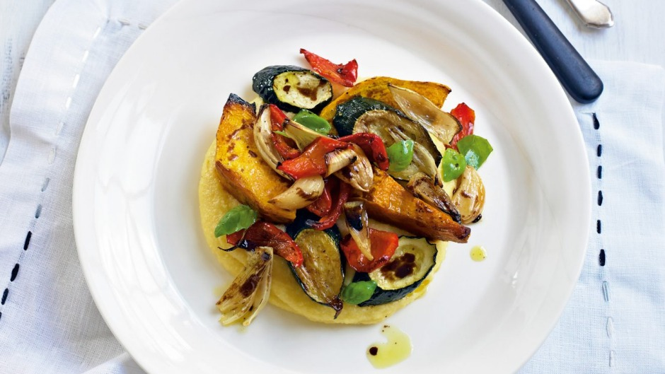Soft polenta with roasted vegetables.