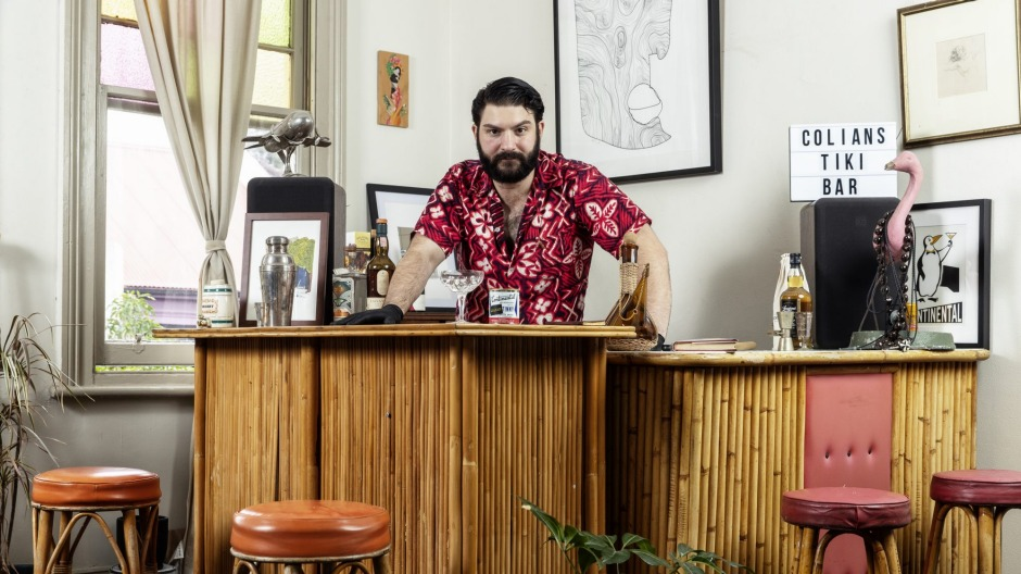 Continental Deli bartender Mikey Nicolian behind his home bar.