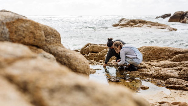 Chefs Analiese Gregory and Jo Barrett foraging for ingredients on Flinders Island.