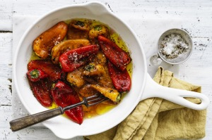 Roasted capsicums with red wine vinegar.