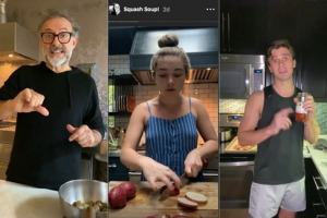 Massimo Bottura, Florence Pugh and Antoni Porowski are sharing their cooking tips to the world on Instagram.