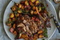 Mediterranean-inspired braised lamb shoulder with potatoes.
