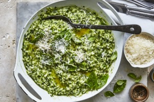 Green herb risotto with parmesan.
