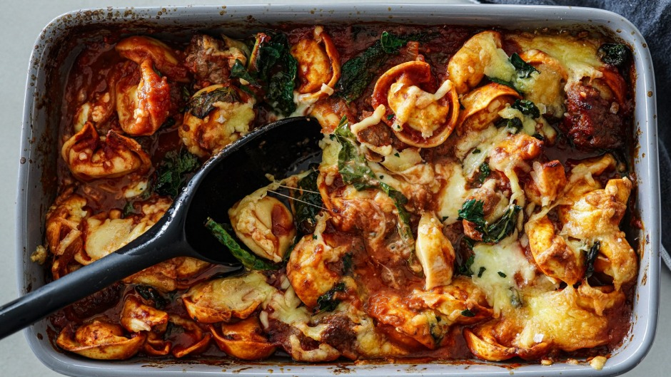 Many tortellini fillings would work in this rustic pasta bake.