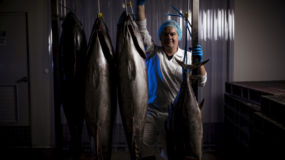 James Marinopoulos, co-owner of Red Coral Seafoods with prime Mooloooolaba yellowfin tuna.