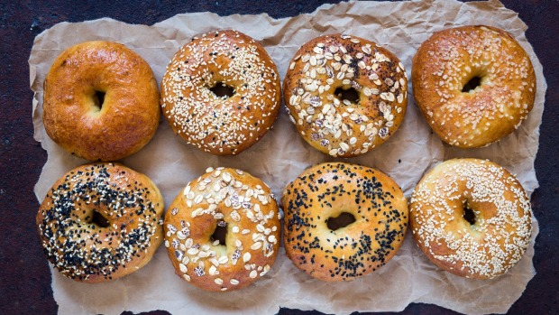 Bagels on rusty background. Bagel image from iStock. for Goodfood.com.au bread story March 2020