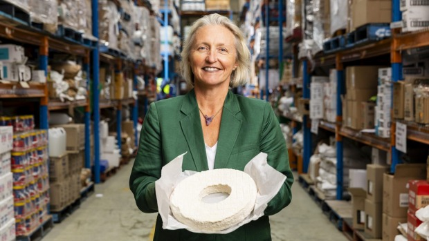 Good Food. Portrait of Two Providores general manager Sally Gosper. Two Providores restaurant-grade produce will now be made available to the public for the first time as their normal restuarant clients have closed their doors because of the Coronavirus. Photographed at the companys warehouse in Marrickville, Sydney on March 26, 2020. Photo: Dominic Lorrimer