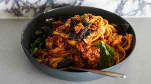 Swap pesto for romesco in this pasta.