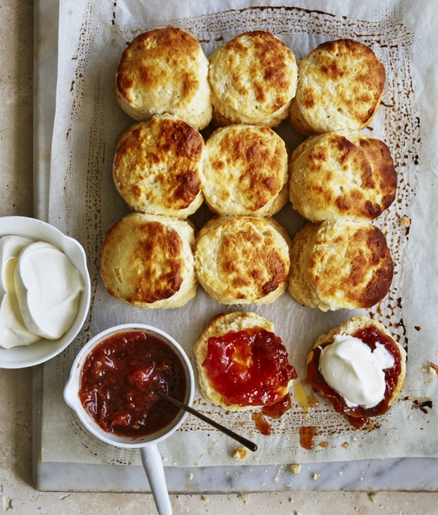 Buttermilk scones with jam and cream.