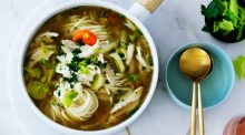The secret to Jill Dupleix's comforting chicken noodle soup is starting from scratch with a whole chicken to simmer the ...