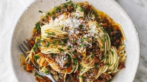 Sneak plenty of vegies into this 50/50 bolognese sauce.