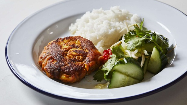 Turmeric fishcakes with cucumber salad and nuoc mam.