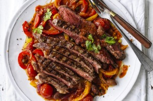Grilled grass-fed sirloin with peperonata.