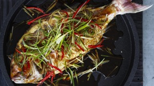 Steamed whole baby snapper in soy and oyster sauce