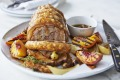 Karen Martini's roasted pork scotch with peaches and burnt honey and thyme dressing.