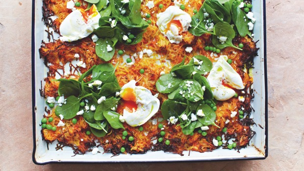 Jamie Oliver's giant veg rosti from Jamie Oliver Keep Cooking and Carry On Cooking series for Good Food April 2020 Story for print and online by Eloise Basuki.