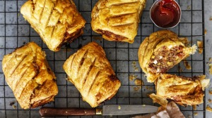 Spanish sausage rolls filled with chorizo and egg.