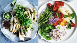 Think of meals as pairs, for instance, last night's steamed chicken (left) becomes tomorrow's chicken noodle salad.