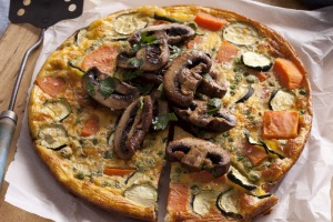 Sweet potato frittata with pan-roasted mushrooms.