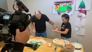 Chef Joe Cavallo from Sydney's Bella Vista Hotel filming a pasta class with his daughter for the Help Out Hospo website.