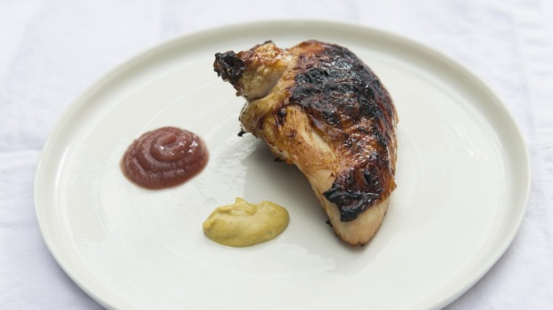 Dry-aged treacle chicken with quince.