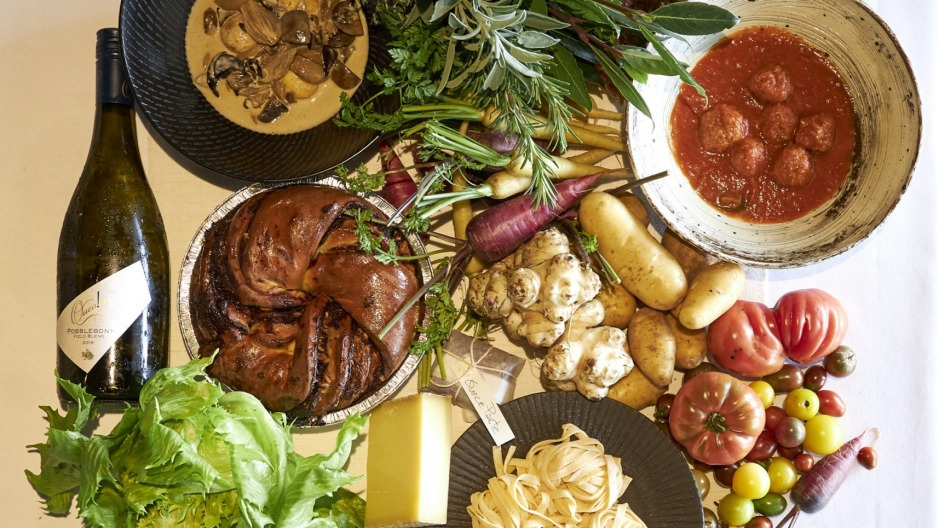 Chef Brigitte Hafner is using herRed Hillwood-fired oven and farm to create Osteria Tedesca produce boxes.