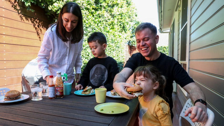 Andrew Levins, with wife Bianca, says he has enjoyed watching their children Archie and Matilda embrace cooking and new ...