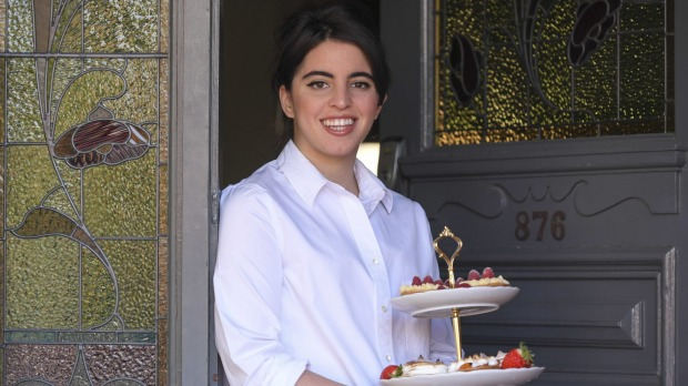 Home cook Alice Diffey with her montblanc chestnut and cream pies, custard and raspberry pies, and spiced brandy pies.