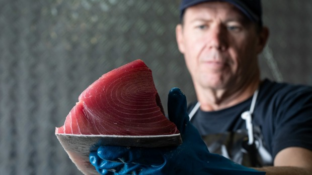 Walker Seafood production manager Daniel Jones with a fresh yellowfin tuna fillet.