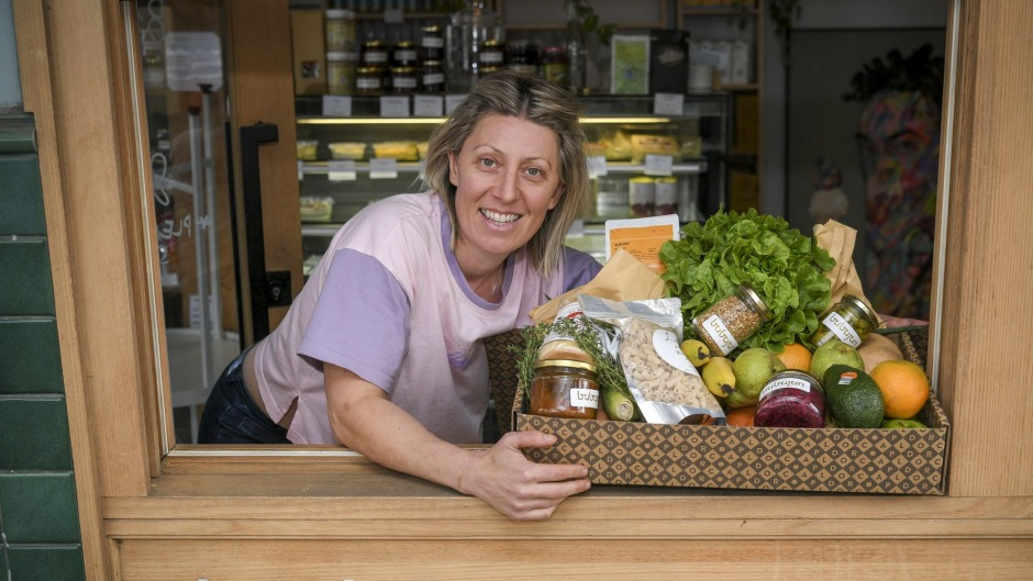 Babajan chef Kirsty Chiaplias with her box of produce.