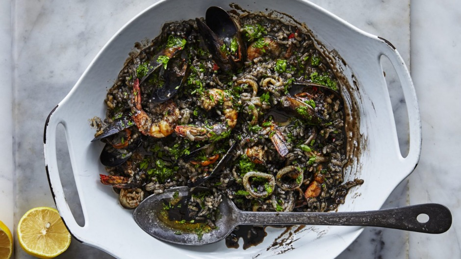 Squid-ink seafood paella.