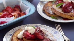 French toast with roasted plums and vanilla yoghurt.