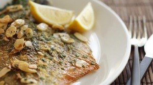 Whole flounder with brown butter.