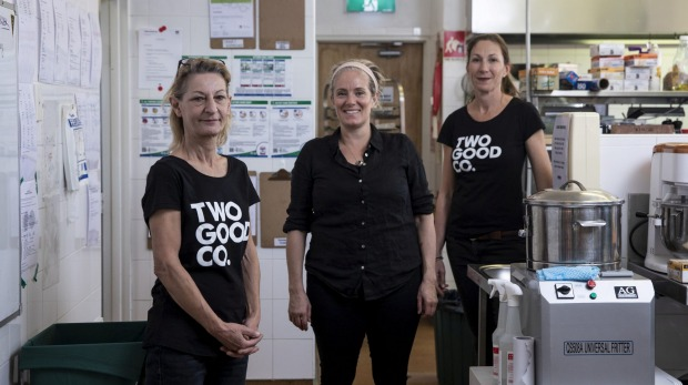 Two Good Co's Marina Greaves, head chef Jane Strode and chef Pru Basser in Eveleigh.