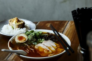 Chilli coriander ramen with poached chicken, egg and black fungus at Chaco in Darlinghurst.