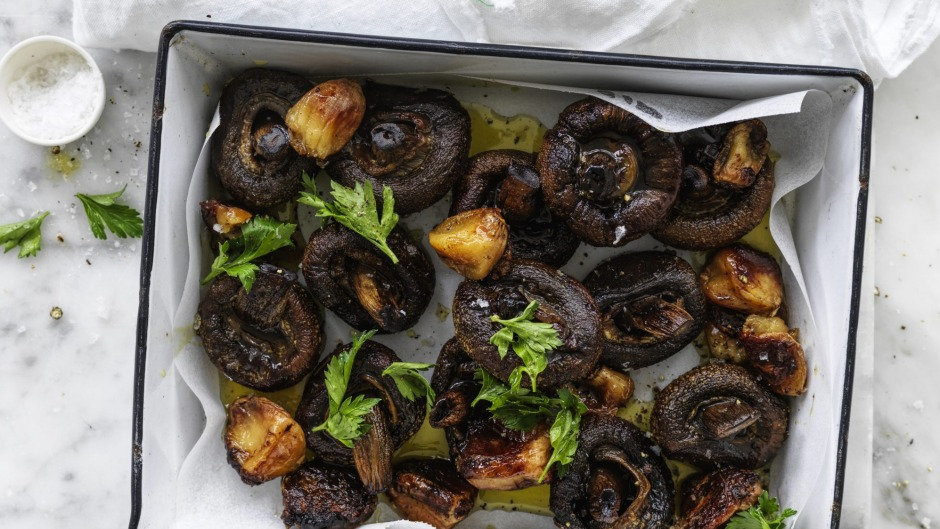 Slow-roasted garlic mushrooms.