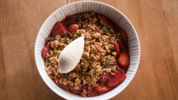 This week's crumble, from unemployed Vue de Monde chef Claire Bryce.