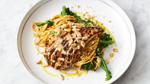 Jamie Oliver's chicken noodle stir-fry with broccolini and toasted peanuts.