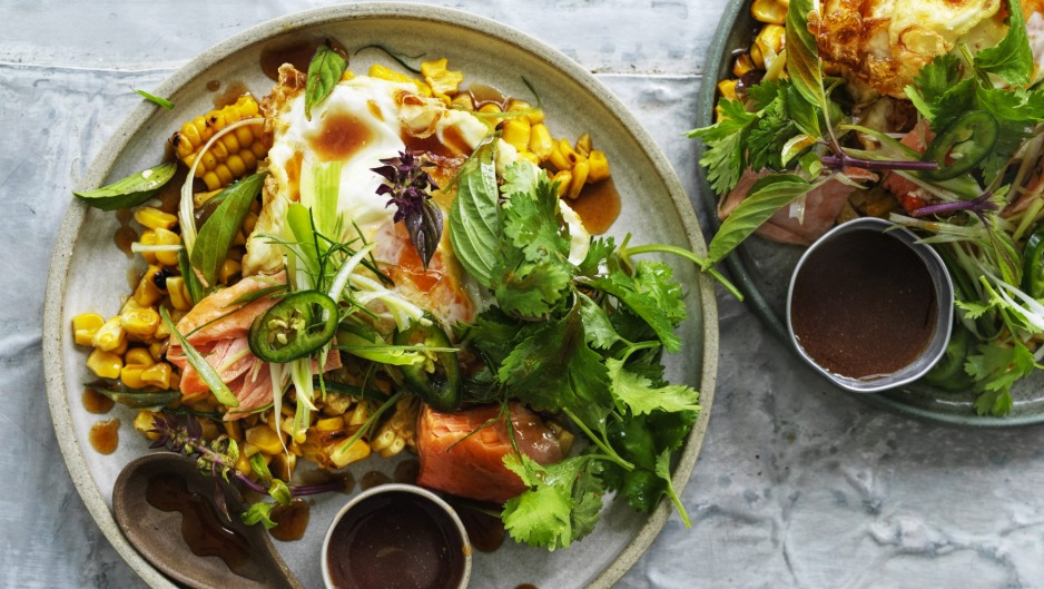Corn and smoked trout salad crowned with a crisp-fried egg.